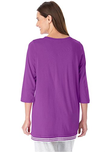 Women's Plus Size Layered Look Knit Tunic Top With Striped Insets
