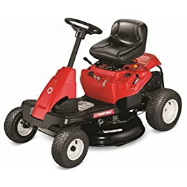 Troy-Bilt 30-Inch Neighborhood Riding Lawn Mower 50 Powered by a 382cc Auto Choke OHV engine with top forward speeds of 4.25 MPH and a 6-speed transmission The 30-Inch cutting deck featuring 5 adjustable settings couples the benefits of a standard riding mower with the size of a wide cut walk behind mower Designed with an 18-Inch turning radius with 13x5-inch front wheels and 16x6.5-inch rear wheels