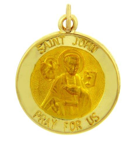 14 ct 585/1000 Or Religieux Pendentif Collier - La Saint John fur uns beten Or Jaune Pendentif Collier (Livre Avec un 45 cm Chaine)