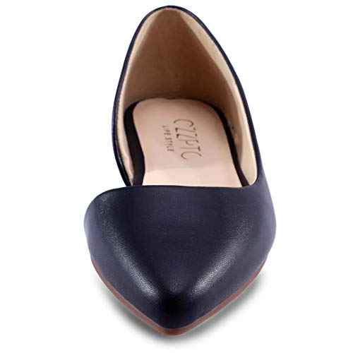 HSYZZY Women Flat Shoes Leather Slip On Comfort Casual Pointed Toe Ballet Flats