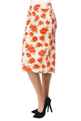 Women's Below the Knee Pencil Skirt for Office Wear - Made in USA Orange / Ivory Floral X-Large