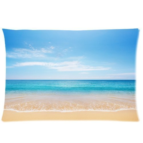 2 one side print 2 way cloth Size 20 X 30 inch custom pillow cases Buythecase Unique Fashion Pillowcase Design Tropical Paradise Beach Scene with the Sea