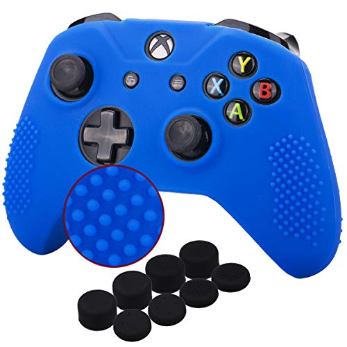 Microsoft Silicone Skin - YoRHa Studded Silicone Cover Skin Case for Microsoft Xbox One X & Xbox One S controller x 1(blue) With Pro thumb grips 8 pieces