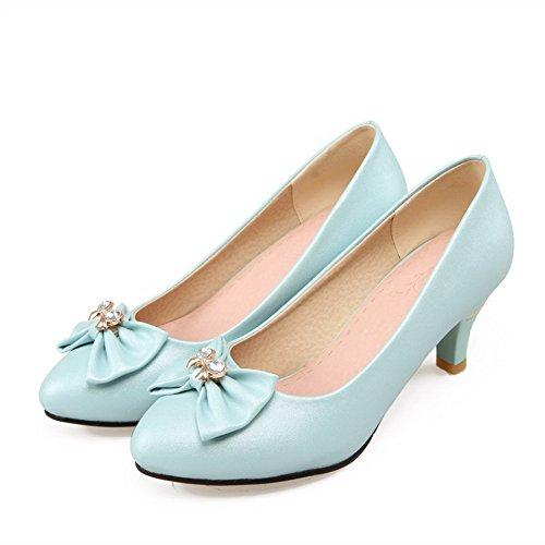 Allhqfashion Delle Donne Solidi Gonnellino In Velluto Con I Tacchi A Punta Chiusi Sulle Scarpe-scarpe Blu