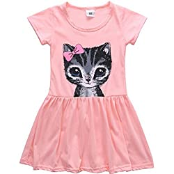 OrliverHL Kids Cat Pattern Shirt Top Skirt Set Clothing ,Pink,S