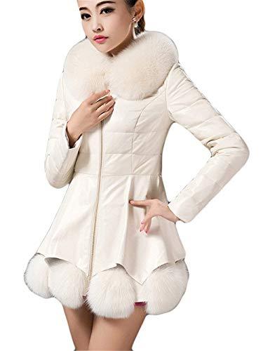 Larga Abrigos Chaqueta Outerwear Fiesta Cuero Manga Vintage Mujer Espesar Termica Blanco Piel Invierno Cuello Slim Fit Con De Parkas Parka qOwtxOPnTa
