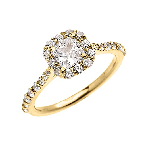 Dainty 14k Yellow Gold 1 Carat Princess Cut CZ Solitaire Engagement and Proposal Ring (Size 10) by CZ Engagement Rings