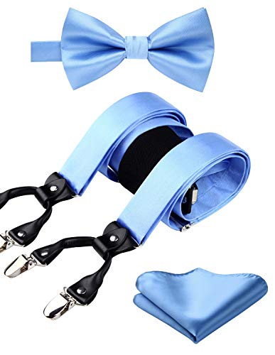 HISDERN Solid Baby Blue 6 Clips Suspenders and Bow Tie Set Y Shape Adjustable Braces Blue