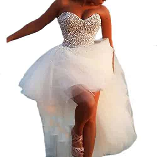 1aac36a164d DreHouse Women s Beaded Crystal High Low Tulle Wedding Dresses 2017 Plus  Size