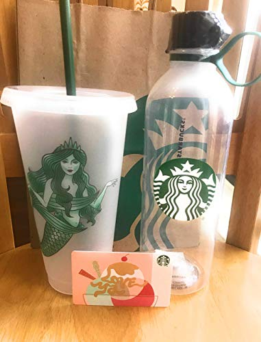 Edition Clear Frosted Limited - Starbucks Water Bottle Clear Plastic 24oz BPA Free and Starbucks Reusable Limited Edition Siren Mermaid Frosted Cold Cup Tumbler Venti w/Lid and Reusable Straw Plus a Free Blank Love Ya Gift Card