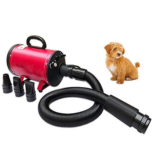 - FXQIN High Velocity Professional Pet Hair Dryer - Dog Grooming Blower with Heater, Noise Reduction & 3 Different Nozzles (Pink)