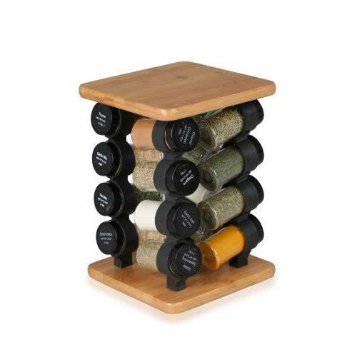Orii Gourmet Square 16 Jar Spice Rack, Bamboo GSR2720