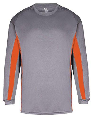 - Badger - B-Core Drive Long Sleeve Colorblocked T-Shirt - 4157 - M - Graphite/ Burnt Orange