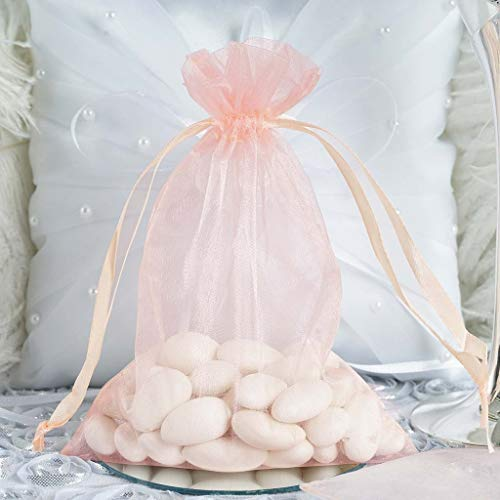 Drawstring Pink Blush - Efavormart 50PCS Blush Organza Gift Bag Drawstring Pouch Wedding Favors Bridal Shower Treat Jewelry Bags - 5