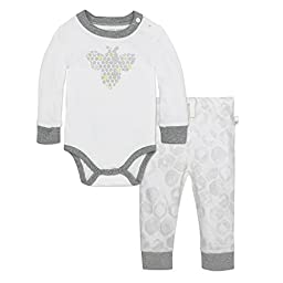 Burt\'s Bees Baby Organic Long Sleeve Bodysuit and Jogger Pant Set, Cloud Honeycomb, Newborn