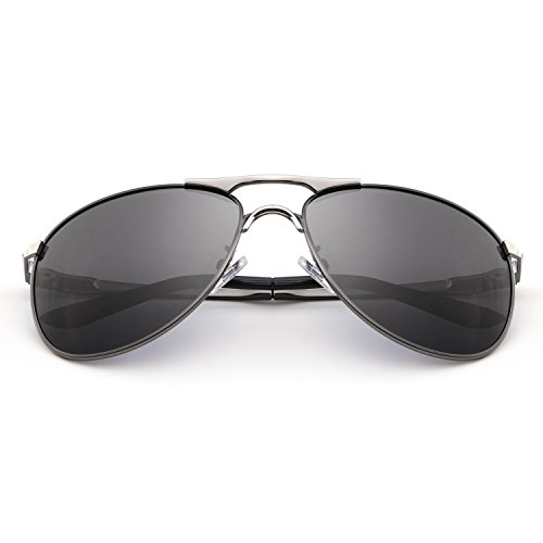 HDCRAFTER Classic Aviators Metal Frame Mirrored Lens Sunglasses Polarized 60MM