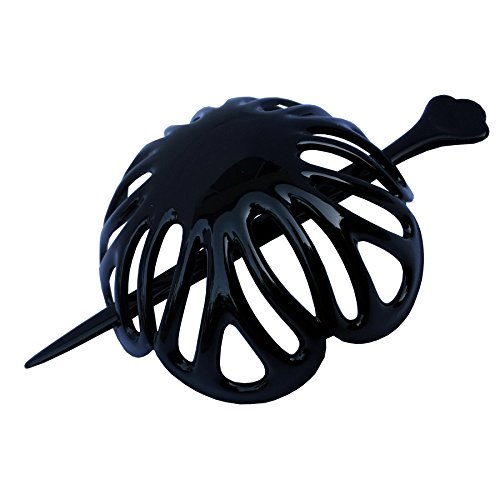 Parcelona French Radial Black Hair Slide Pin Thru Ponytail Holder Hair Updo Bun Cover Holder Cap with Stick - 3.5 Inches Diameter