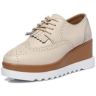 DADAWEN Women's Fashion Tassels Square-Toe Lace-up Platform Wedge Oxford Shoes Beige US Size 6.5