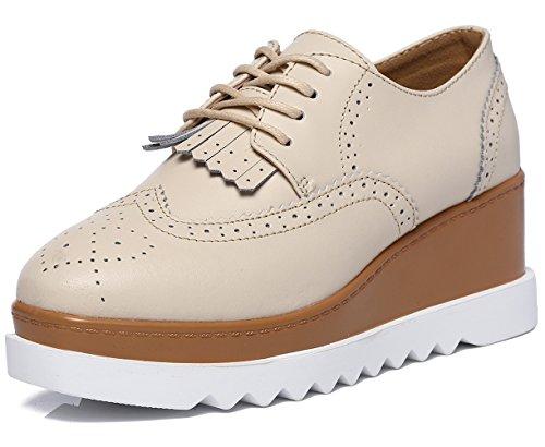 DADAWEN Women's Fashion Tassels Square-Toe Lace-up Platform Wedge Oxford Shoes Beige US Size ()