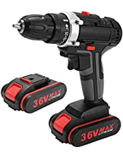 Electric Drill,36V Multifunctional Electric Impact Cordless Drill High-power Lithium Battery Wireless Rechargeable Hand Drills Home DIY Electric Power Tools