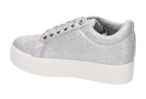King Of Shoes Damen Glitzer Slip-Ons Sneakers Slipper Freizeit Turnschuhe Plateau Schnür Low Top Flats Metallic Look Schuhe 42 Silber