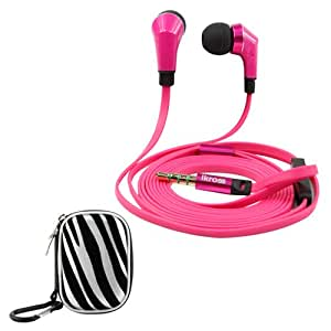 iKross Hot Pink / Black In-Ear 3.5mm Noise-Isolation Stereo Earbuds with Microphone + Zebra Small Accessories Carrying Storage Eva Case For Amazon Fire Phone