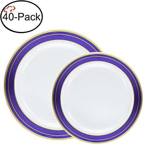 Tiger Chef Heavyweight Plastic China Like Plates. Includes (20) 10.25-inch And (20) 7.5-inch Cobalt Blue With Gold Trim Design Quality Reusable Dinnerware - (40) ()