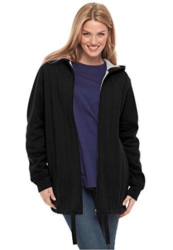 Women's Plus Size Drawstring-Hem Hooded Fleece Jacket Black,L