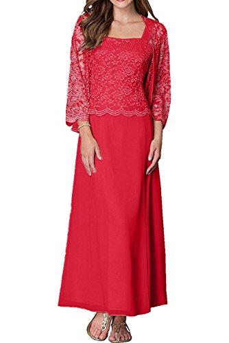 Jaket Damen traeger Brautmutterkleider Gruen Rot Abendkleider Spitze Mit Zwei Charmant Partykleider Langarm vgw7qv