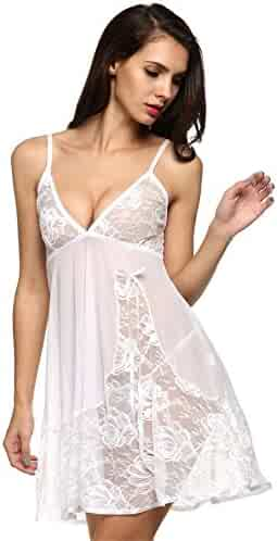 acc25207d29 Bluetime Women s Sexy Strappy Lace See Through Chemise Babydoll Lingerie  Dress