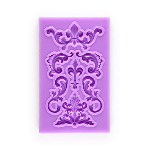 Tasty Molds Small Baroque Vintage Curlicues Scroll Fondant Silicone Mold High Definition Quality Cupcake DIY Birthday Topper Cake Border Decoration Party Tool for Sugarcraft, Polymer Clay, Crafting