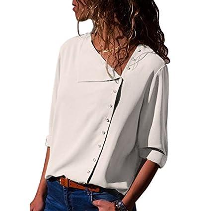 0a1d36de9a176 de Elegante Zehui Blusa Las de para Camisa Mujeres Moda Larga de Gasa para  Manga qwAwUC