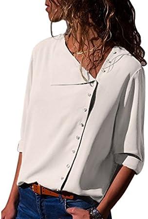 LanLan Blusa de Gasa para Las Mujeres de Moda, Camisa Elegante de Manga Larga para Mujer con Escote Oblicuo, Blusa Elegante Tops de Regalo, 2018 últimos Modelos: Amazon.es: Hogar
