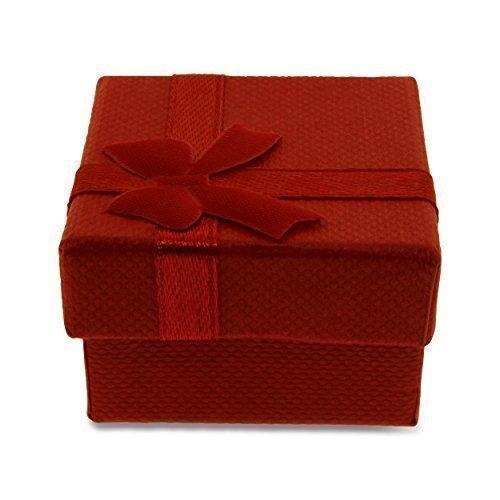 Caja Regalo Joyería Tarjeta Roja Burdeo Raso Y Lazo 10 Cajas: Amazon.es: Joyería