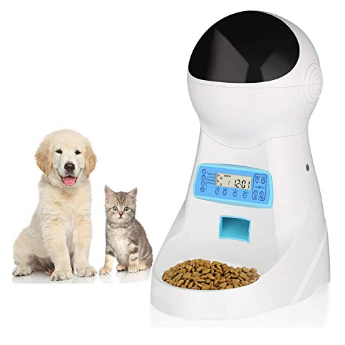 amzdeal Automatic Cat Feeder Pet Feeder Dog Food Dispenser with