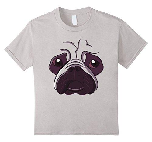 Kids Bulldog Emoji Super Cute Face Dog Halloween Costume Shirt 4 Silver