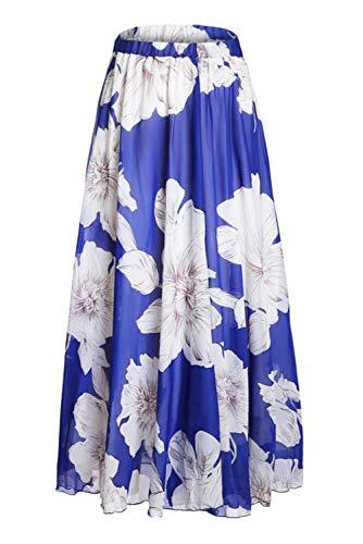 Asvivid Women's Boho Floral Print High Waist Pleated Chiffon Long Maxi Skirt XX-Large Blue