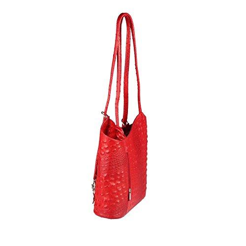 Sac dos porté Rouge femme BxHxT Turquoise pour cm 27x29x8 au à Couture Türkis OBC Beautiful main Only Kroko Croco wCqpgg