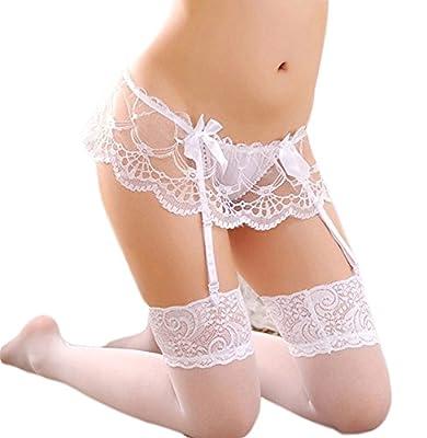 YKSH Women's 3 Pieces Lace Garter Belt Stockings Sets