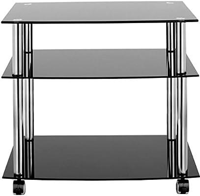 3 Tier unidad de soporte de TV de cristal negro mesa auxiliar ...