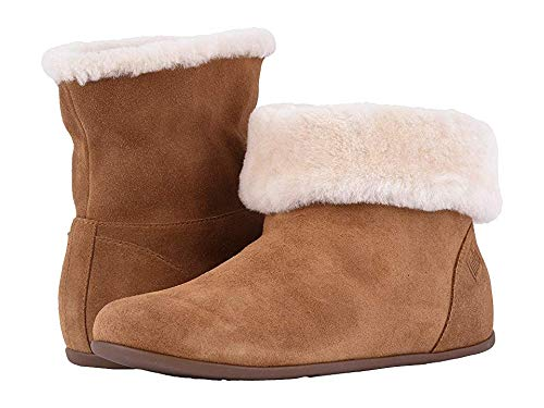 FitFlopTM Womens Sarah&Trade; Shearling Slipper Booties (Suede), Tumbled Tan, Size 9