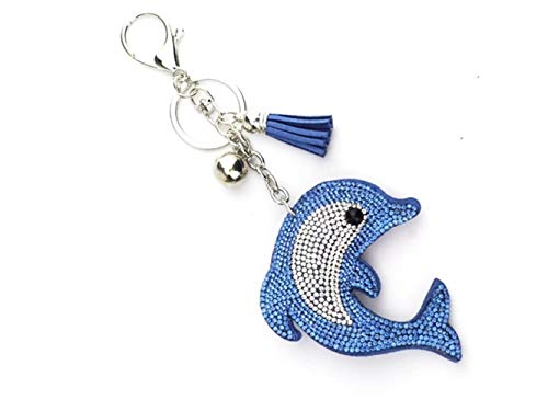 - Wetietir Fashion Hot Diamond-Studded Dolphin Pu Leather Keyring Charms Bag Purse Phone Pendant for Women Girls_Blue Pendant