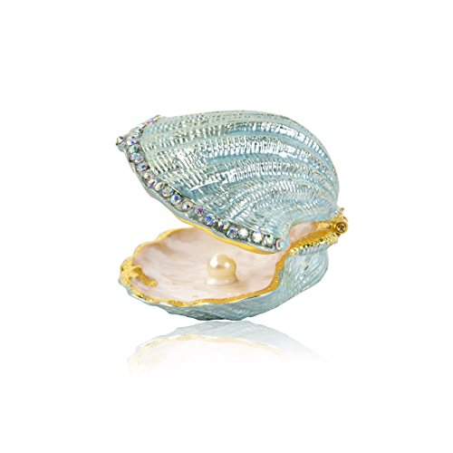 MICG Vintage Pearl Mussel Hinged Trinket Box Wedding Ring Holder Metal Seashell Figurine (white inside 1pcs) (Box Trinket Shell)