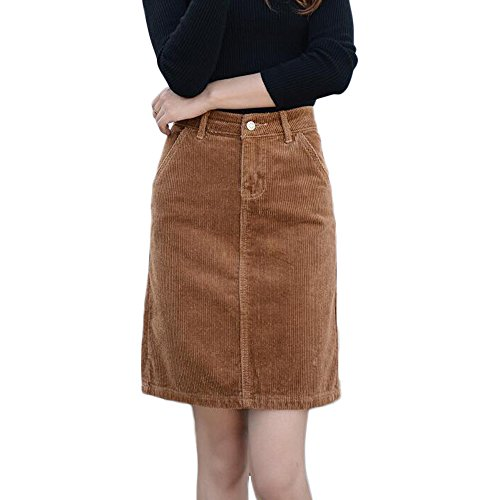 Sunfan Women's Corduroy Mid Rise A-Line Skirt Plus Size with Pockets