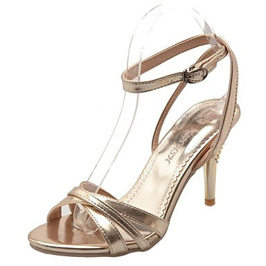 Shoes Open Career Sandals Heel golden cn40 Leather Office Toe Patent 5 eu39 Silver Evening Party Stiletto 5 uk6 amp; Heels Styles Women's amp; us8 d4qxSwSC0