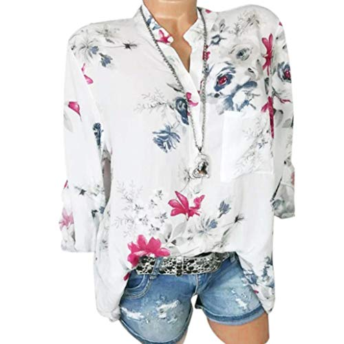 Realdo Big Promotion Women Casual Loose Floral Print Pullover Shirt with Pocket (Large,White) ()