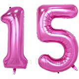ZiYan 40 Inch Giant 15th Pink Number Balloons,Birthday/Party balloons