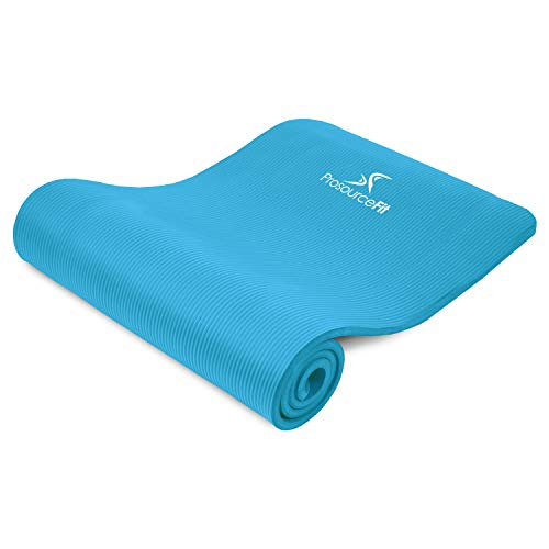 "ProsourceFit Extra Thick Yoga and Pilates Mat ½"" (13mm), 71-inch Long High Density Exercise Mat with Comfort Foam and Carrying Strap, Aqua"