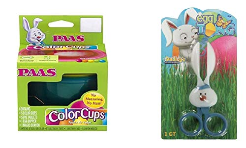 Easter Egg Dye Kit 2 Piece Bundle - Paas Dye Color Cups Kit with Dudley Bunny Egg Dipper Tongs