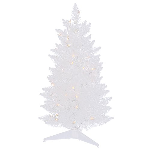 - Vickerman 5' Sparkle White Pencil Artificial Christmas Tree with 150 Warm White LED Lights
